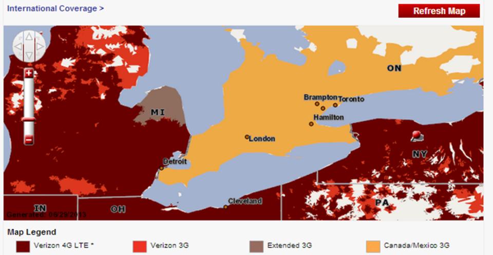 verizon LTE coverage canada