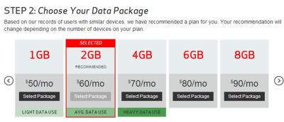 verizon shared pricing plan option