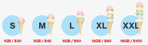 verizon sizes chart